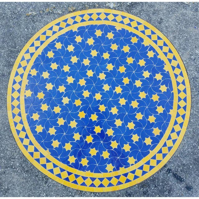 "2010s Moroccan Blue / Yellow Mosaic Top Wrought Iron 32"" Table For Sale - Image 5 of 7"