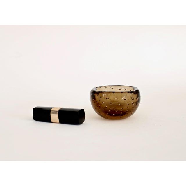 1950s Carlo Scarpa for Venini Murano Bulicante Small Bowl Amber Glass For Sale - Image 9 of 10