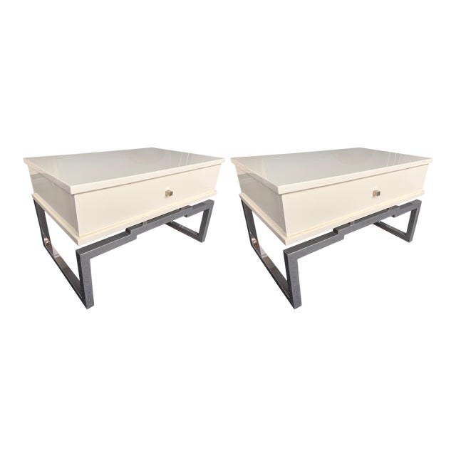 Pair of Lacquered and Metal Chrome Side Tables by Mario Sabot. Italy, 1970s For Sale