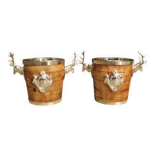 Silverplate and Wood Wine Coolers With Mounted Stags and Cartouches - A Pair For Sale