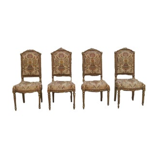 French Antique Louis XVI Gilt-Wood Side Chairs - Set of 4