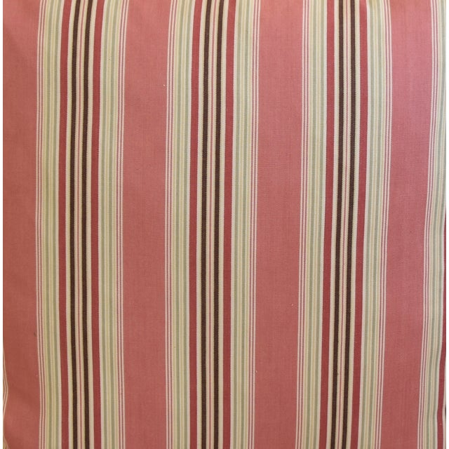 "Abstract French Multi Coral Striped Ticking Feather/Down Pillows 23"" Square - Pair For Sale - Image 3 of 11"