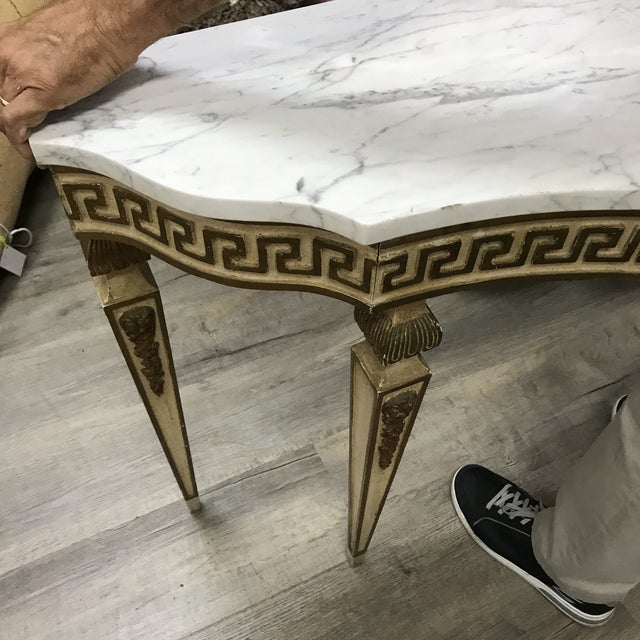 1920s 1920s Italian Marble-Top Greek Key Detailed Console For Sale - Image 5 of 6