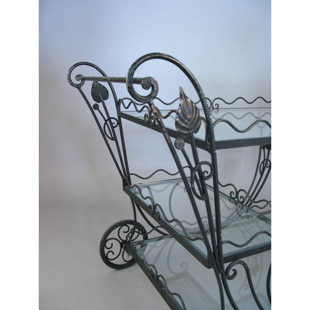 Lee L. Woodard & Sons Vintage 1950's Wrought Iron Scroll Bar Cart For Sale - Image 4 of 8