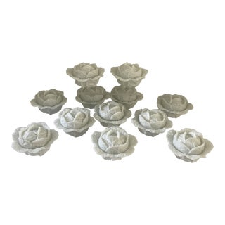 Early 20th Century Portieux Glass Cabbage Covered Bowls - Set of 12 For Sale