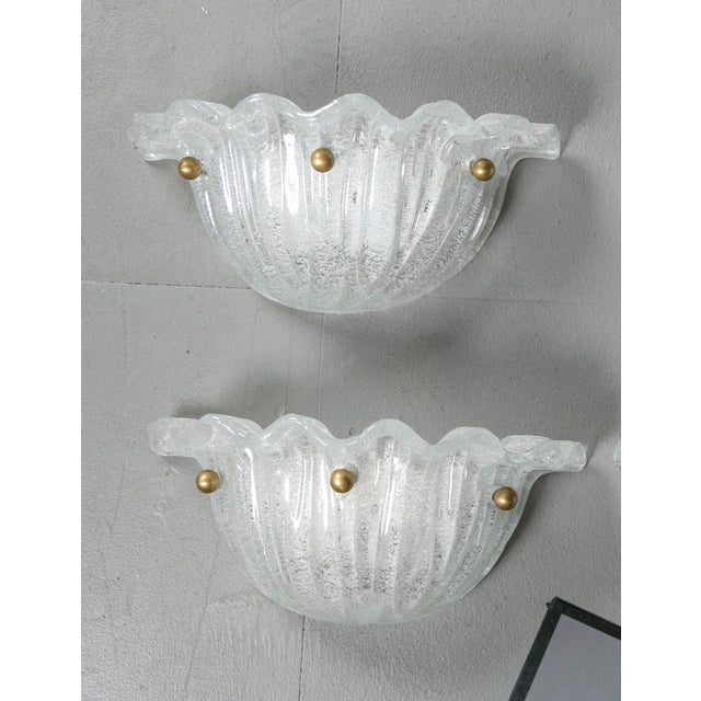Early 20th Century Murano Glass Shell Sconces - a Pair For Sale - Image 5 of 5