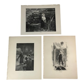 1892 Antique Characters From Works by Victor Hugo Prints - Set of 3 For Sale