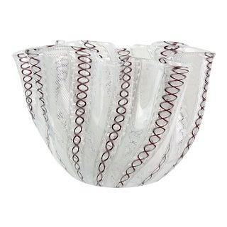 Venini Bianconi Murano White Purple Zanfirico Italian Art Glass Fazzoletto Vase For Sale