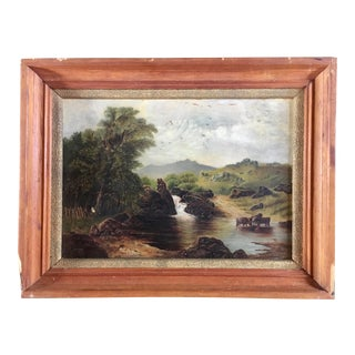 19th Century Oil Painting of Bucolic Scene For Sale