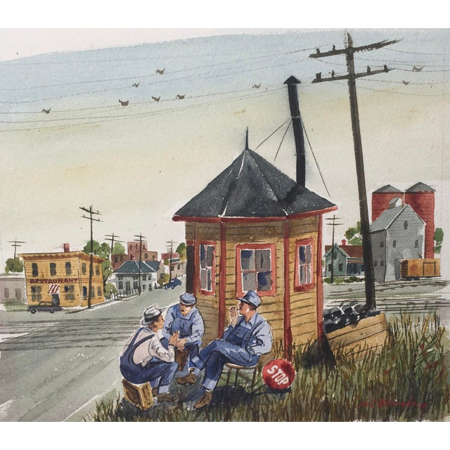 Figurative Shooting the Breeze Watercolor by Hal Werneke For Sale - Image 3 of 11