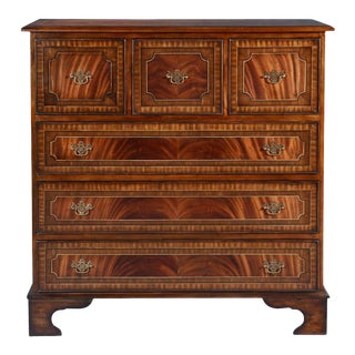 Chest of Drawers English Flame Mahogany Banded For Sale