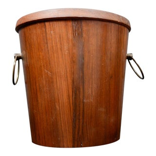 Mid Century Modern Walnut Wood Ice Bucket With Stainless Steel Tongs 1960s For Sale