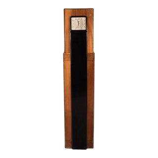 Art Deco Skyscraper Grandfather Clock Walnut and Black Lacquer by Raymond Loewy