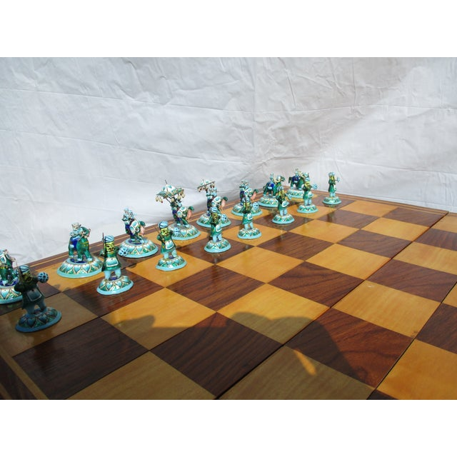 Enamel Indian Silver Enamel Mahogany Chess Set For Sale - Image 7 of 11
