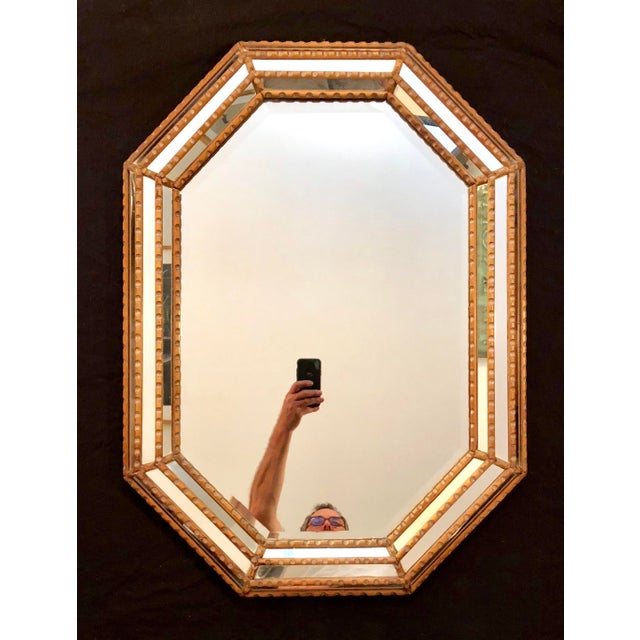 Italian Mid-Century Beaded and Beveled Octagonal Wall Mirror For Sale - Image 10 of 10