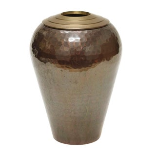 20th Century Contemporary Hammered Brown/Gold Metal Vase