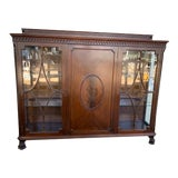 Image of Antique English Mahogany and Glass Curio Bookcase For Sale