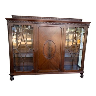 Antique English Mahogany and Glass Curio Bookcase For Sale