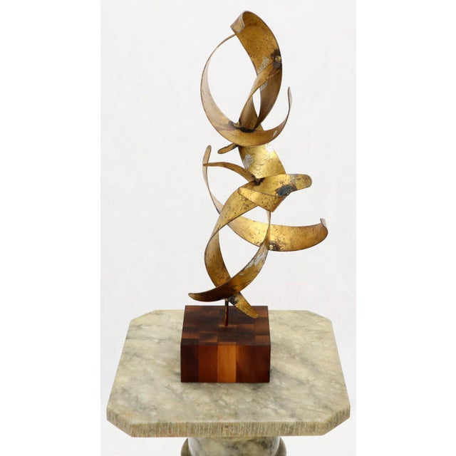 William Bowie Table Top Metal Gold Leaf Sculpture Solid Wood Block Base For Sale - Image 11 of 13