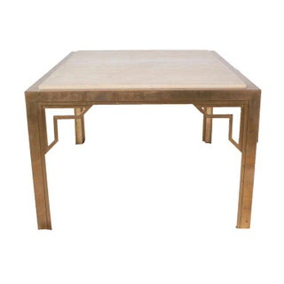 Pair of Brass End-Sofa Tables With Travertine Tops Preview