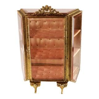 Antique 19th Century French Ormolu Decorative Beveled Glass Vitrine For Sale