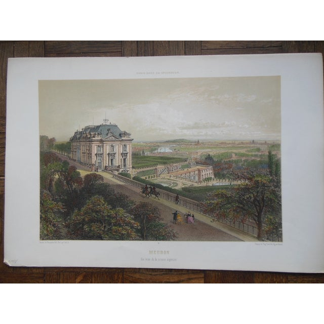 Realism Antique Folio Size Lithograph View of Paris For Sale - Image 3 of 3