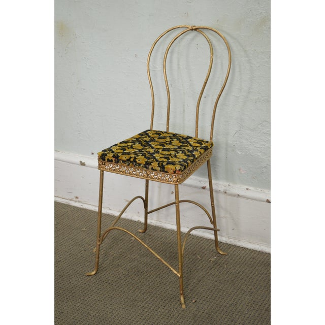 Black Antique Gilt Metal Faux Bois Aesthetic Side Chair For Sale - Image 8 of 11