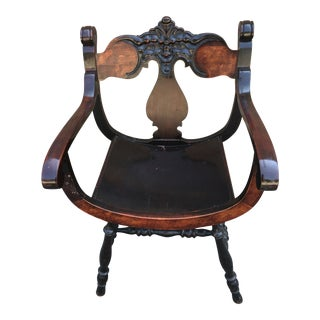 19th Century Renaissance North Wind Face Two-Tone Curve Chair