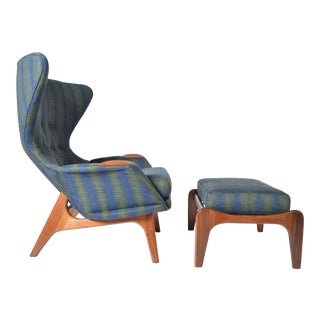 Adrian Pearsall Wingback Peacock Lounge Chair 2231-C and Ottoman For Sale