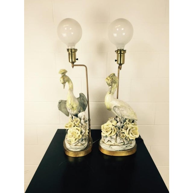 Freeman Leidy Ceramic Crane Lamps - Pair For Sale - Image 10 of 10