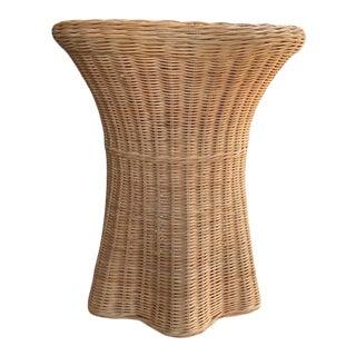 Palm Beach Style Wicker Woven Trompe l'Oeil Ghost Side Table For Sale