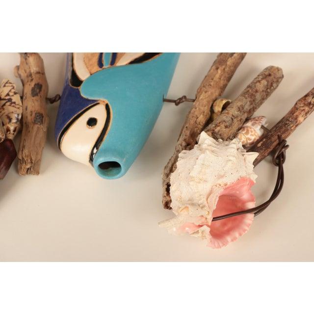 Hazel Olsen Driftwood and Pottery Fish Windchime For Sale - Image 4 of 6