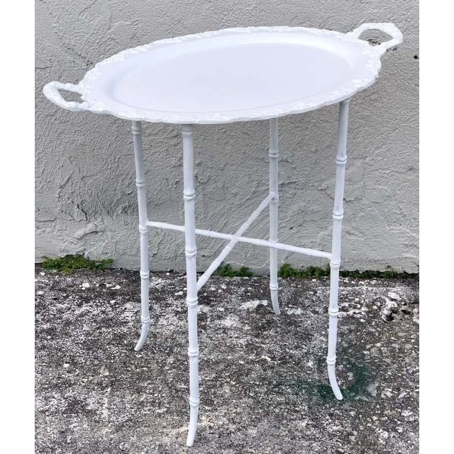 Metal Faux Bamboo and Grape Motif White Enameled Tray Table, Provenance Celine Dion - a Pair For Sale - Image 7 of 10