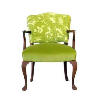 Upholstered Green Velvet Occasional Chair For Sale