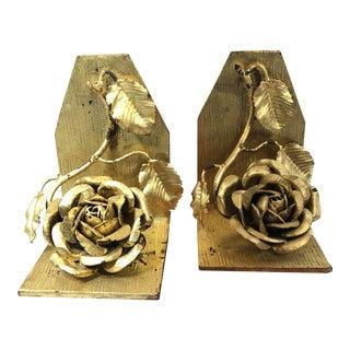Vintage Gilt Gold Metal Rose Book Ends - A Pair For Sale