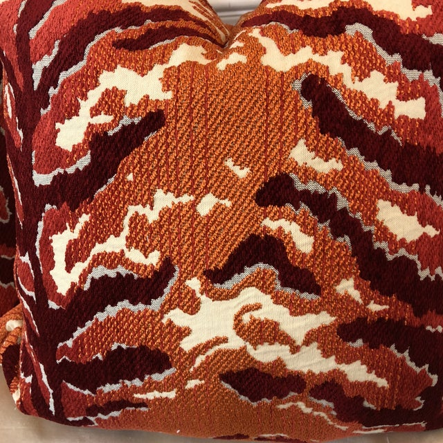 "Custom pair of 22"" orange and deep red tiger Pillows. The fabric is very soft with the red color in chenille. Feather/down..."
