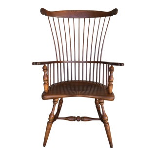 Duckloe Brothers Maple Windsor Comb Back Arm Chair For Sale