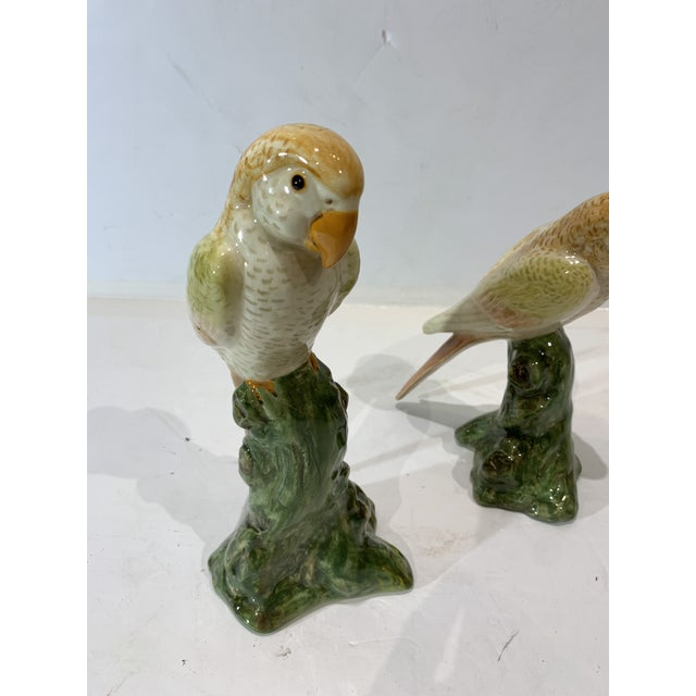Pair of Parrot Statues Hand Painted in Soft Yellow Tones. Great Decorative Set for Displaying on Mantles, Bookcases Even...