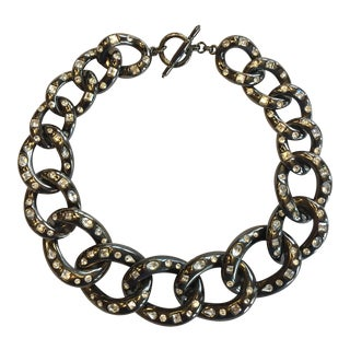 Kenneth Jay Lane Chain Hematite Plate Rhinestone Necklace For Sale