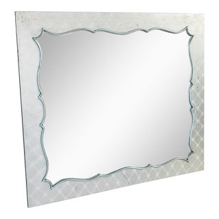 Silvered Wood Frame Hollywood Regency Mirror