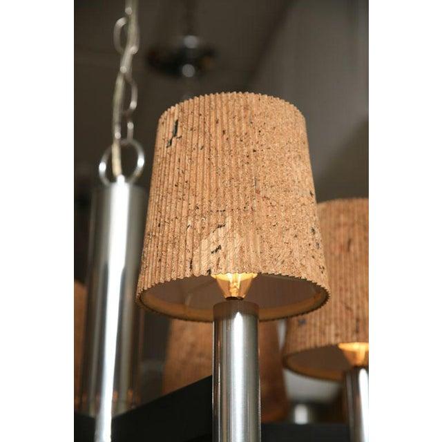 Modern Feldman Lamp Co. Chrome Tubular Chandelier With Cork Shades. - Image 9 of 11