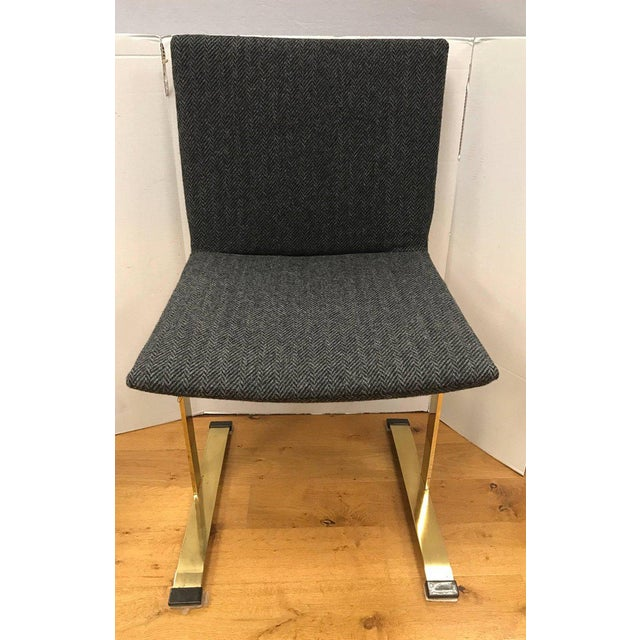 Set of Giovanni Offredi Saporiti Italia Brass Dining Chairs Mid-Century Modern For Sale In New York - Image 6 of 7