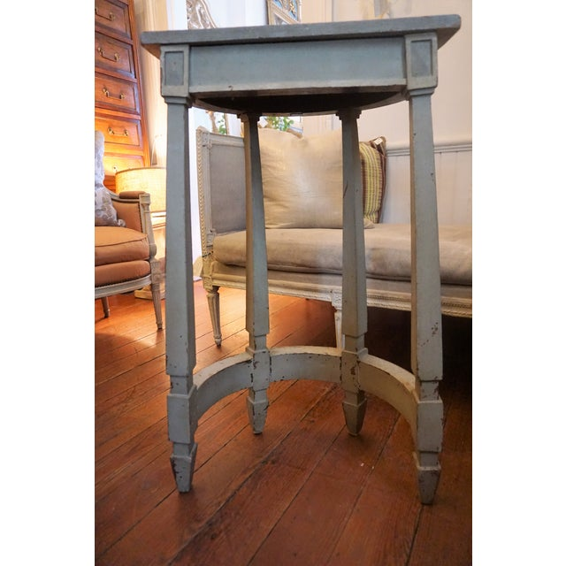19th Century Petite Shabby Chic Gray Wood Console For Sale - Image 4 of 8