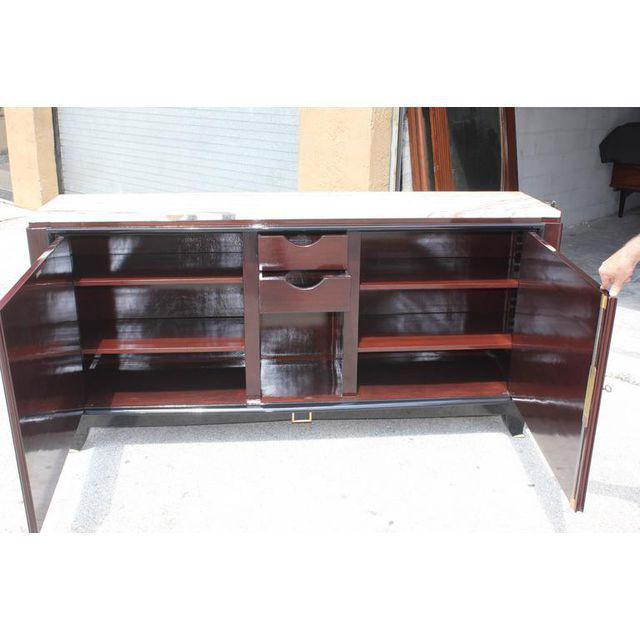 Black 1940s Maurice Rinck French Art Deco Marble Top Macassar Ebony Sideboard / Bar For Sale - Image 8 of 10