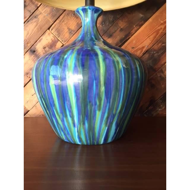 Mid-Century Ceramic Drip Glaze Lamp - Just 1 Available - Image 4 of 6