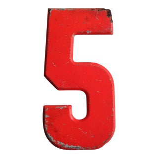 Vintage Rustic Neon Orange Metal Number '5' Sign For Sale