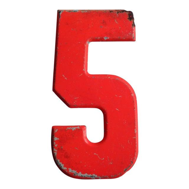 Vintage Rustic Neon Orange Metal Number '5' Sign - Image 1 of 4