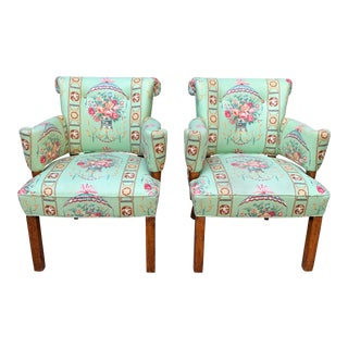 Mid Century Neoclassical Style Upholstered Side Chairs- a Pair For Sale