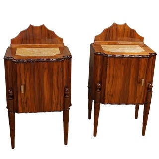 20th Century French Art Deco Rosewood Night Chests - a Pair For Sale