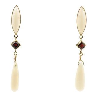 Coral & Garnet Dangling Gold Earrings For Sale